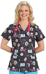 Scrubs-VAC-Exclusives-Animal-Print-Tops |  | Two Pocket Scrub Top Puppy Pal