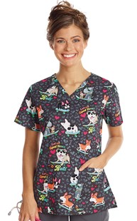 Scrubs-Animal-Prints | Cherokee | Two Pocket Print Scrub Top Let the Good Times Roll