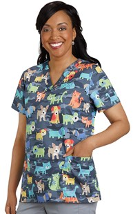 Scrubs-VAC-Exclusives-Animal-Print-Tops |  | Two Pocket Print Scrub Top Multi Pet Corral
