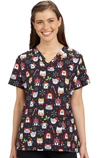 Scrubs-Animal-Prints |  | White Cross Print Scrub Top - Santa Paws