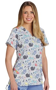 Scrubs-VAC-Exclusives-Animal-Print-Tops |  | 4-Way Stretch Print Scrub Top Raise the Woof