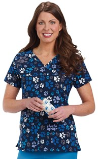 Scrubs-Premium-WonderWink-4-Way-Stretch |  | 4-Way Stretch Animal Print Scrub Top - Paws of Love