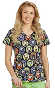 HolidayPrints |  | Soft V-Neck Two Pocket Print Top - Halloween Cats
