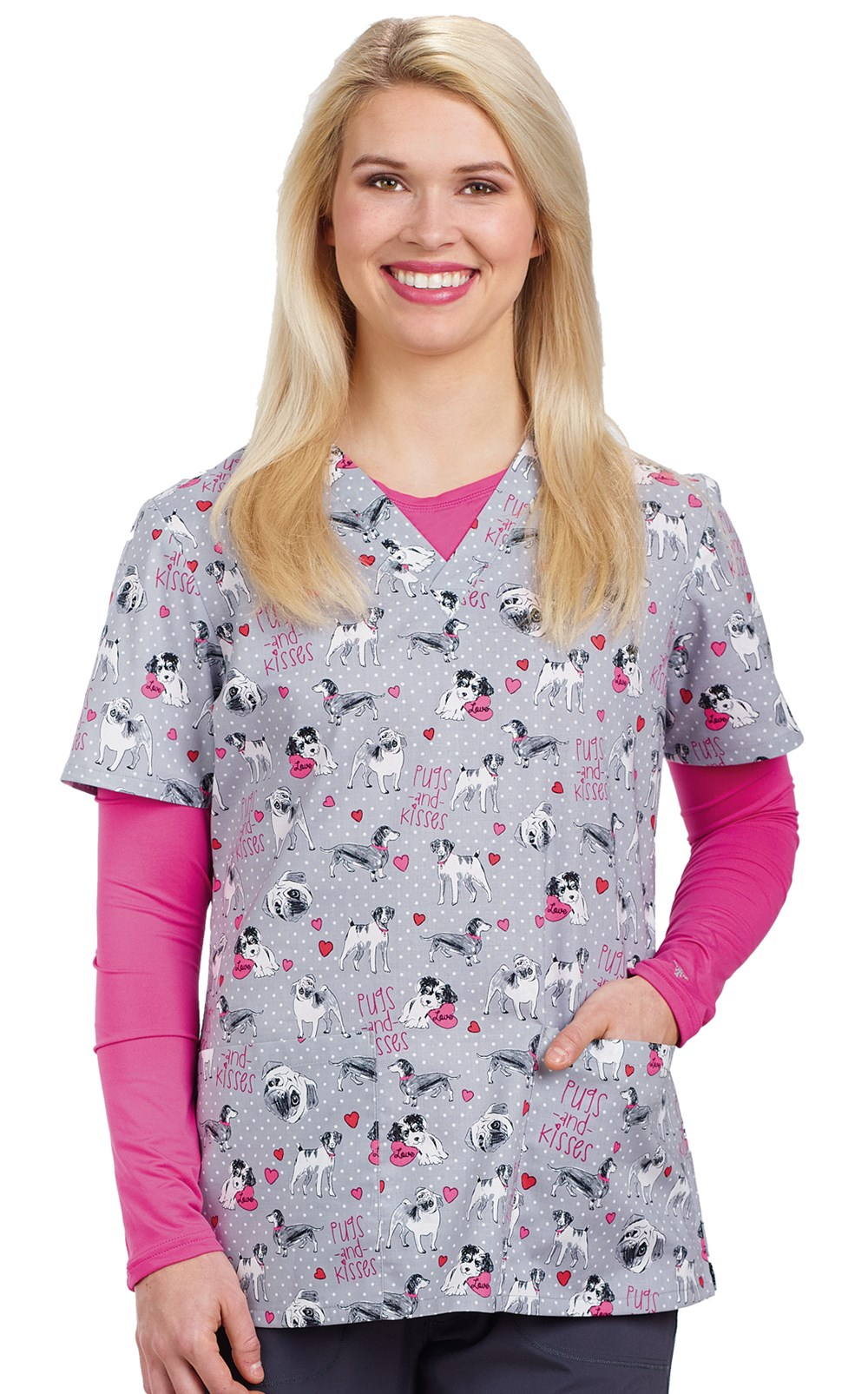 Animal print scrub top pugs kisses veterinary apparel animal print scrub top pugs kisses image nvjuhfo Image collections