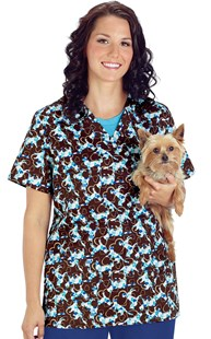 Clearance-Scrubs |  | Hearts and Pets Print Two Pocket Scrub Top