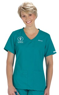 |  | Cherokee Pro flexibles Knit Trim V-Neck Scrub Top