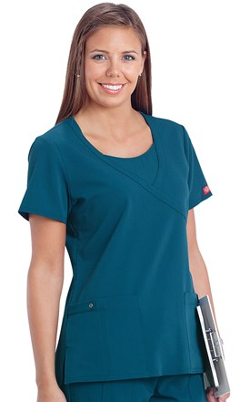 Dickies Xtreme Stretch Mock Wrap Scrub Top Image