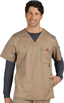 Dickies Gen-Flex Men's Contrast Stitch Side Pocket Scrub Top Image