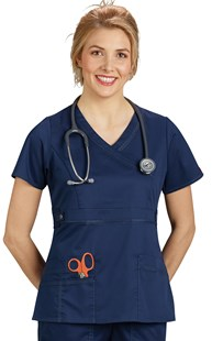 Scrubs-Premium-Dickies-Gen-Flex |  | Dickies Gen-Flex Contrast Stitch Mock Wrap Scrub Top