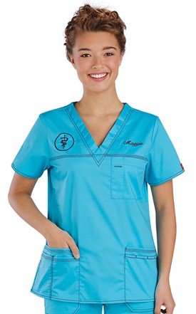 Dickies Gen-Flex Contrast Stitch V-Neck Scrub Top Image