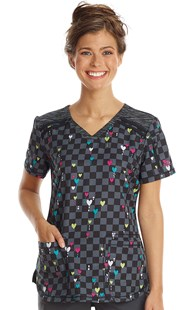 Fashion_Prints | Dickies | Dynamix Melange Love Matrix Print Scrub Top