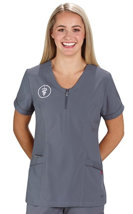 FIT Zip Front Scrub Top Image