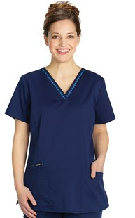 | VAC Exclusive | Hearts and Paws Paw Ribbon Trim Scrub Top