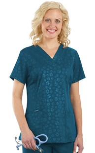 Scrubs-VAC-Exclusives-Animal-Print-Tops | VAC Exclusive | Hearts & Paws Embossed Paw Print Scrub Top