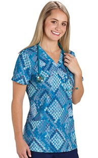 Scrubs-VAC-Exclusives-Animal-Print-Tops | VAC Exclusive | Teal Premium Paw Pattern Stretch Scrub Top