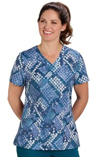 Scrubs-VAC-Exclusives-Animal-Print-Tops | VAC Exclusive | Caribbean Premium Paw Pattern Stretch Scrub Top