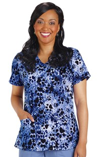 Scrubs-VAC-Exclusives-Hearts-and-Paws-Collection | VAC Exclusive | Hearts & Paws Navy Print Stretch Scrub Top