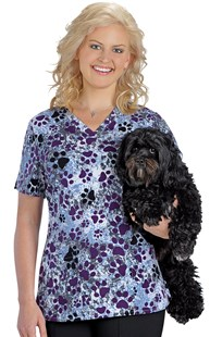 | VAC Exclusive | Hearts & Paws Eggplant Print Stretch Scrub Top