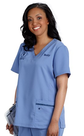 Hearts and Paws Stretch Scrub Top Image