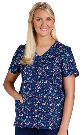 Navy Hearts and Paws Stretch Scrub Top Image