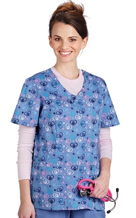 Ceil Hearts and Paws Stretch Scrub Top Image