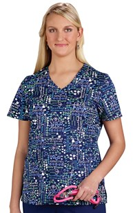 Clearance-Scrubs |  | Navy Wellness Sayings Stretch Scrub Top