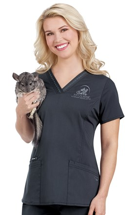 Hearts and Paws Paw Ribbon Trim Scrub Top Image