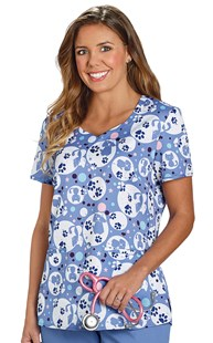 Clearance-Scrubs |  | Premium Stretch Print Scrub Top Ceil Bubble