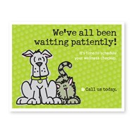Rx-Supplies-Client-Communications-Reminder-Cards |  | 300 Wating Patiently 3-Up Postcard
