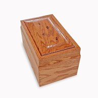 Clearance-RxSupplies |  | Oak Wood Urn w/ Engraved PAW TRACKS