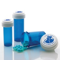 Vials |  | Dual Purpose Reversible Cap Prescription Vials 8 Dram Blue
