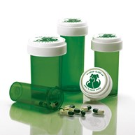 Rx-Supplies-Vials-and-Containers-Vials |  | Dual Purpose Reversible Cap Prescription Vials 8 Dram Green
