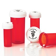 Rx-Supplies-Vials-and-Containers-Vials |  | Dual Purpose Reversible Cap Prescription Vials 8 Dram Red